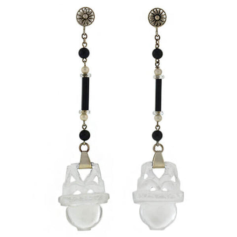 Art Deco Sterling Alabaster, Onyx & Pearl Earrings