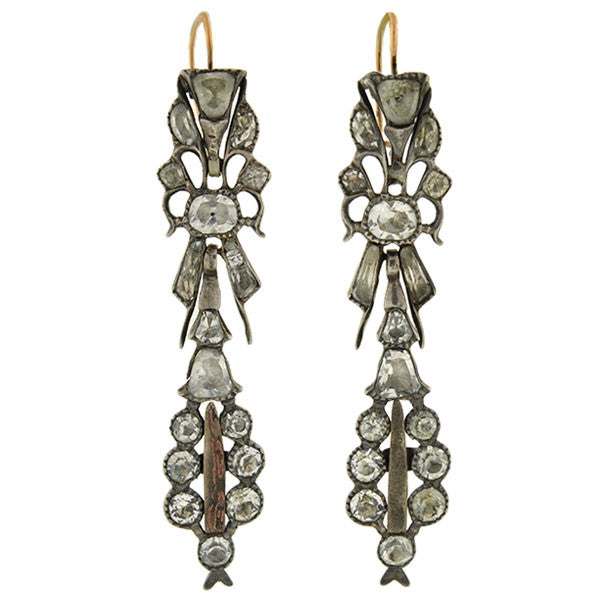 Victorian Dramatic Silver & French Paste Foil Back Earrings
