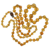 Art Deco Long Faceted Citrine Bead Necklace