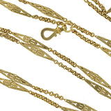 Victorian 14kt Long Yellow Gold Link Chain 56