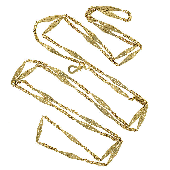 Victorian 14kt Long Yellow Gold Link Chain 56""