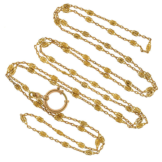 Victorian Gold-Filled Filigree Link Chain 60""