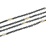 Victorian Long Gunmetal & 14kt Pearl Chain with Clasp
