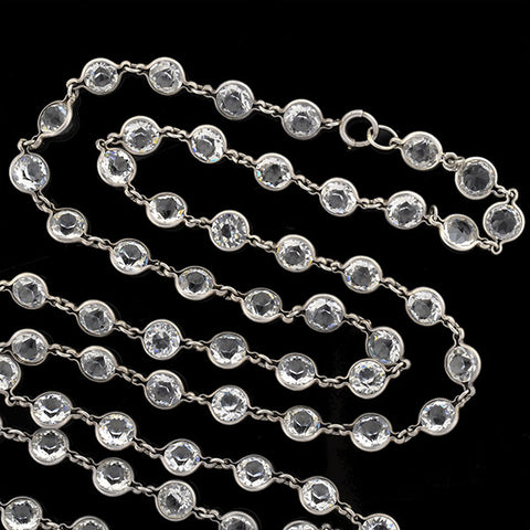 Art Deco Sterling Silver & Crystal Necklace 61""