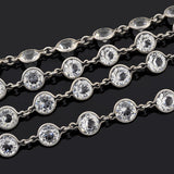 Art Deco Sterling Silver & Crystal Necklace 61