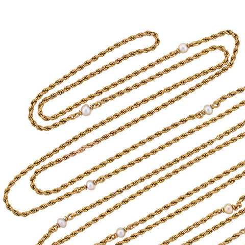 Victorian 18kt Yellow Gold & Pearl Muff Chain 57""
