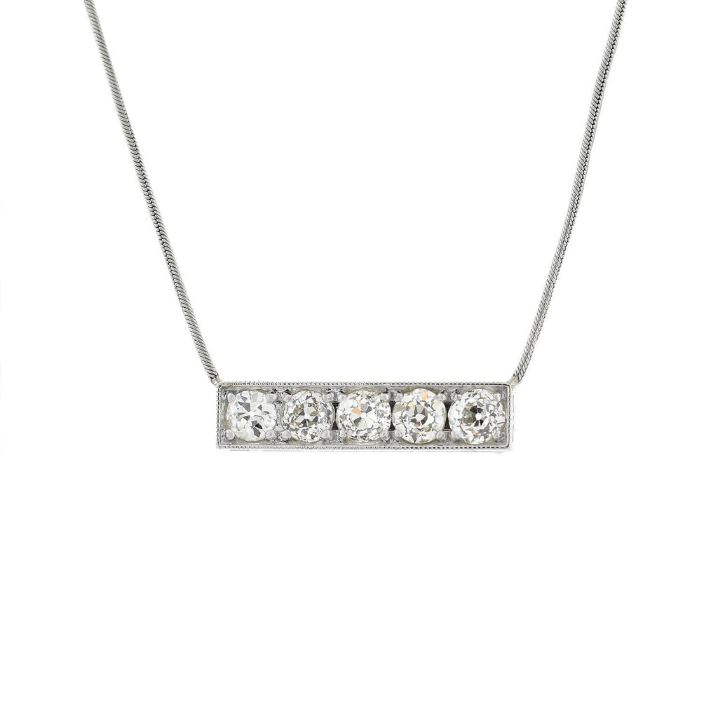 Estate 18kt/Platinum Diamond Bar Pendant Necklace 2.35ctw
