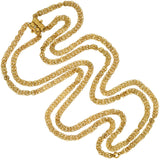Victorian Gold-Filled Fancy Link Double-Strand Chain with Pearl Slide 63
