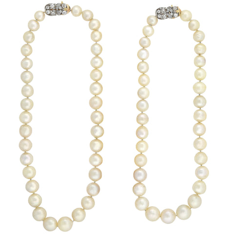 Edwardian 10-15mm South Sea Pearl Convertible Necklace with Diamond Clasps