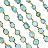 Art Deco 14kt Natural Blue Zircon Link Necklace 115.00ctw