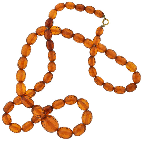 Late Art Deco Long Faceted Amber Bead Necklace 34""