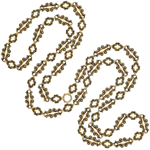 Victorian Long 18kt Swiss Enamel Fancy Open Link Chain Necklace 47""