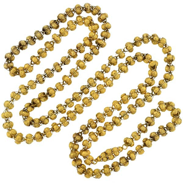 Georgian 15kt Gold Handmade Open Bead Necklace 50""