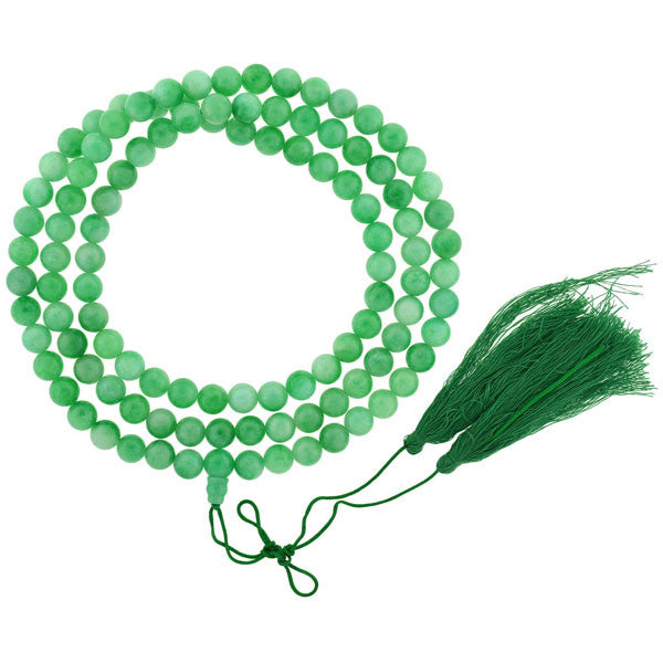 Art Deco Chinese Dyed Green Quartz Bead & Tassel Necklace