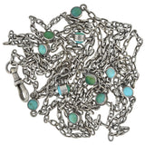 Victorian Long Sterling Silver Turquoise Link Chain Necklace 55.75