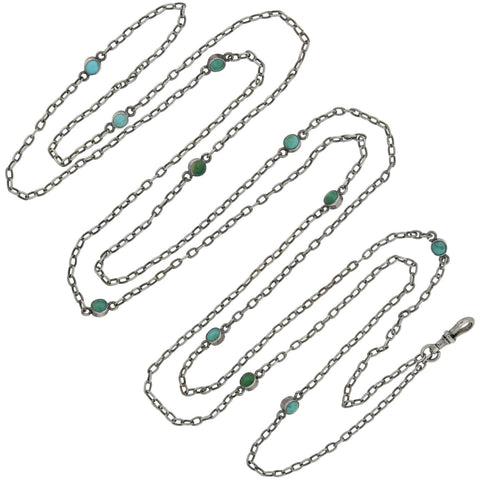 Victorian Long Sterling Silver Turquoise Link Chain Necklace 55.75""