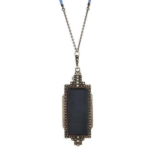 Art Deco Silver Onyx & Marcasite Lorgnette Glasses Necklace