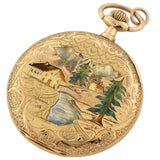 LOUIS AUDEMARS & CIE Rare Victorian 14kt Hunter Case Enamel Pocket Watch - Made for Germany