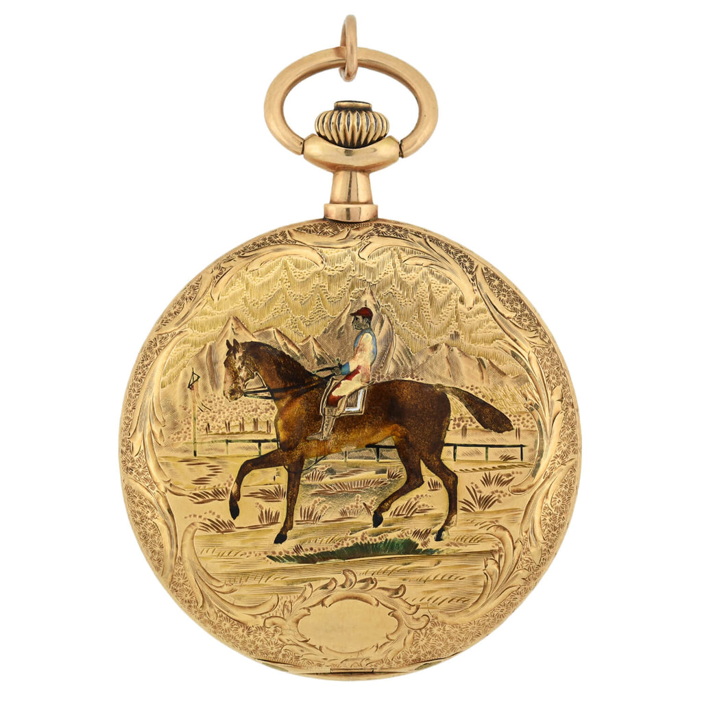 LOUIS AUDEMARS Rare Victorian 14kt Hunter Case Enamel Pocket Watch - Made for Germany