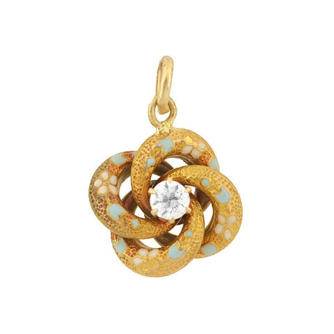 Victorian 14kt Love Knot Charm with Diamond & Enamel Flowers