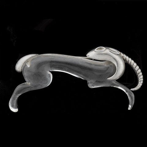 Retro Large Sterling Silver & Clear Lucite Gazelle Pin