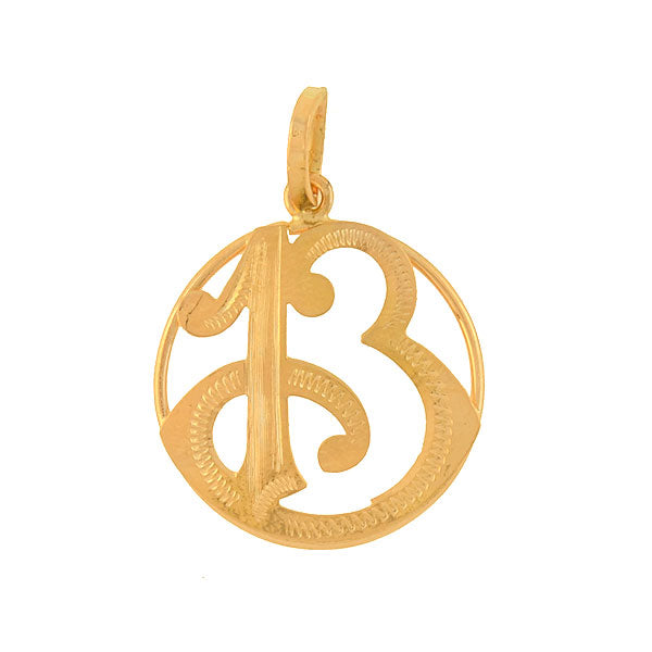 "Art Deco 14kt Gold ""Lucky 13"" Pendant"