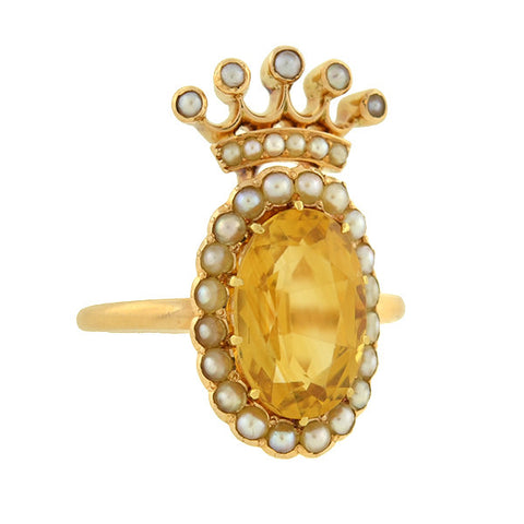 MARCUS & CO. Art Nouveau 18kt Citrine & Seed Pearl Crown Ring