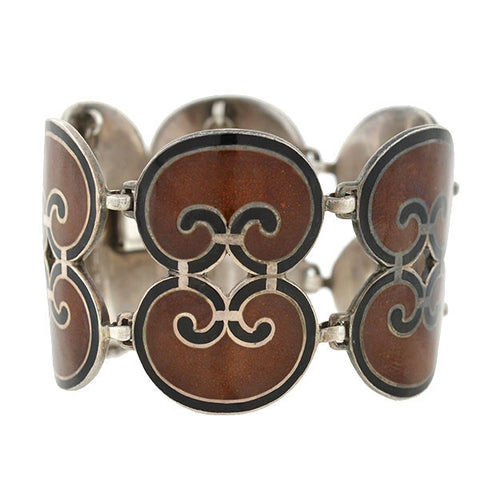 GUCCI Vintage Sterling & Brown Enamel Hinged Bangle Bracelet