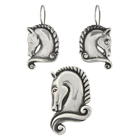 MARGOT Vintage Mexican Sterling Horse Earring Pin Set