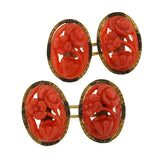 Art Deco 14kt Natural Oxblood Coral Carved Flower Cufflinks