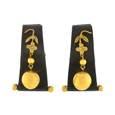 CARTIER Vintage 14kt Onyx Earrings w/Omega Clips