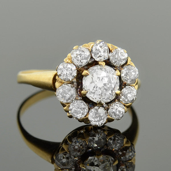 Victorian 18kt Mine Cut Diamond Cluster Ring 1.50ctw
