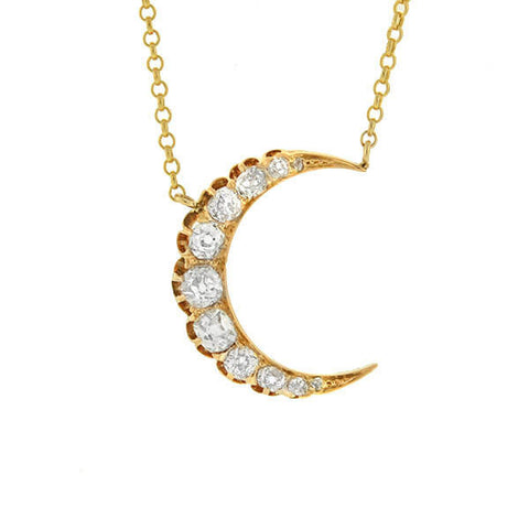 Victorian 14kt Mine Cut Diamond Crescent Necklace .80ctw