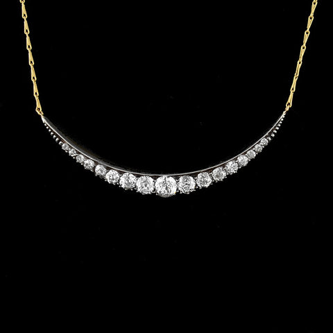 Victorian Sterling/14kt Mine Cut Diamond Crescent Necklace 2.50ctw