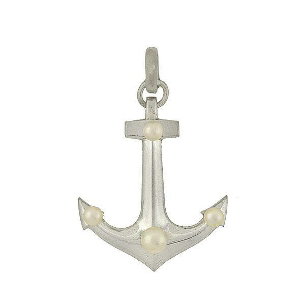 MIKIMOTO Estate Silver & Cultured Pearl Anchor Pendant