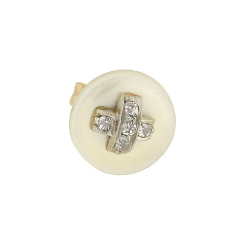 Estate 14kt Diamond & Mother of Pearl Button Stud Earrings