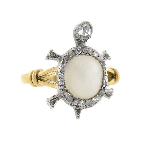 Victorian 18kt & Sterling Mother of Pearl & Diamond Turtle Ring