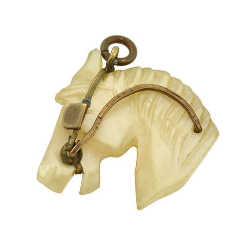 Victorian Gold-Filled Carved Mother of Pearl Horse Head Pendant