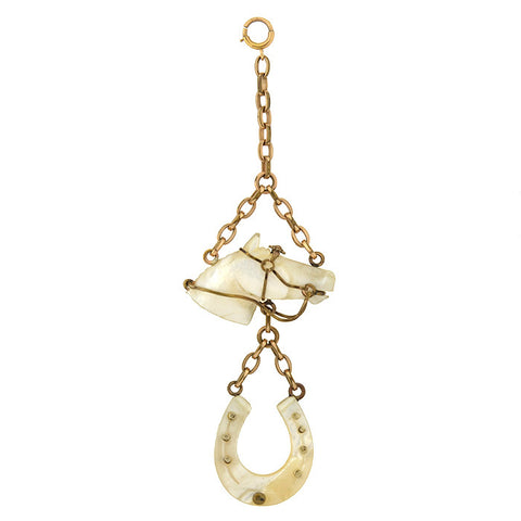 Victorian Gold-Filled Mother Of Pearl Equestrian Fob Pendant