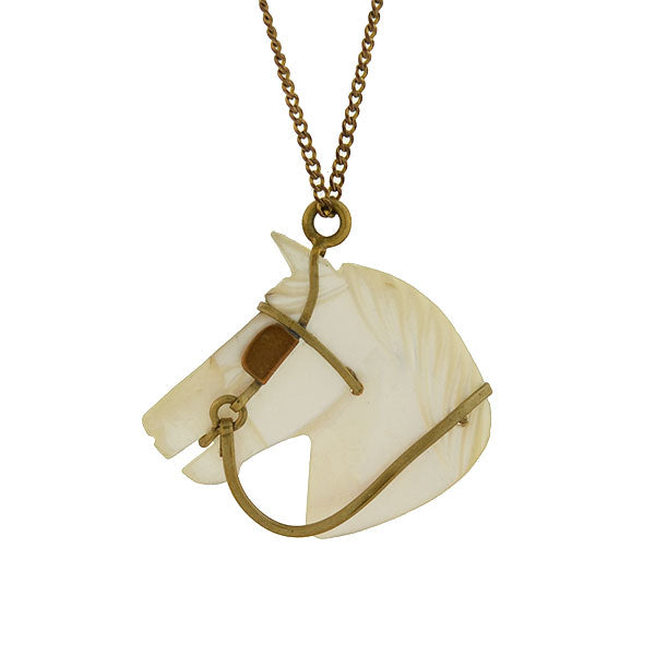 Victorian Gold-Plated & Carved Mother of Pearl Horse Necklace