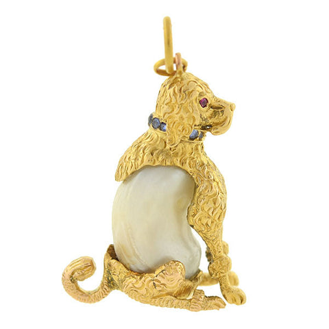 Victorian French 18kt Pearl & Gemstone Poodle Dog Pendant