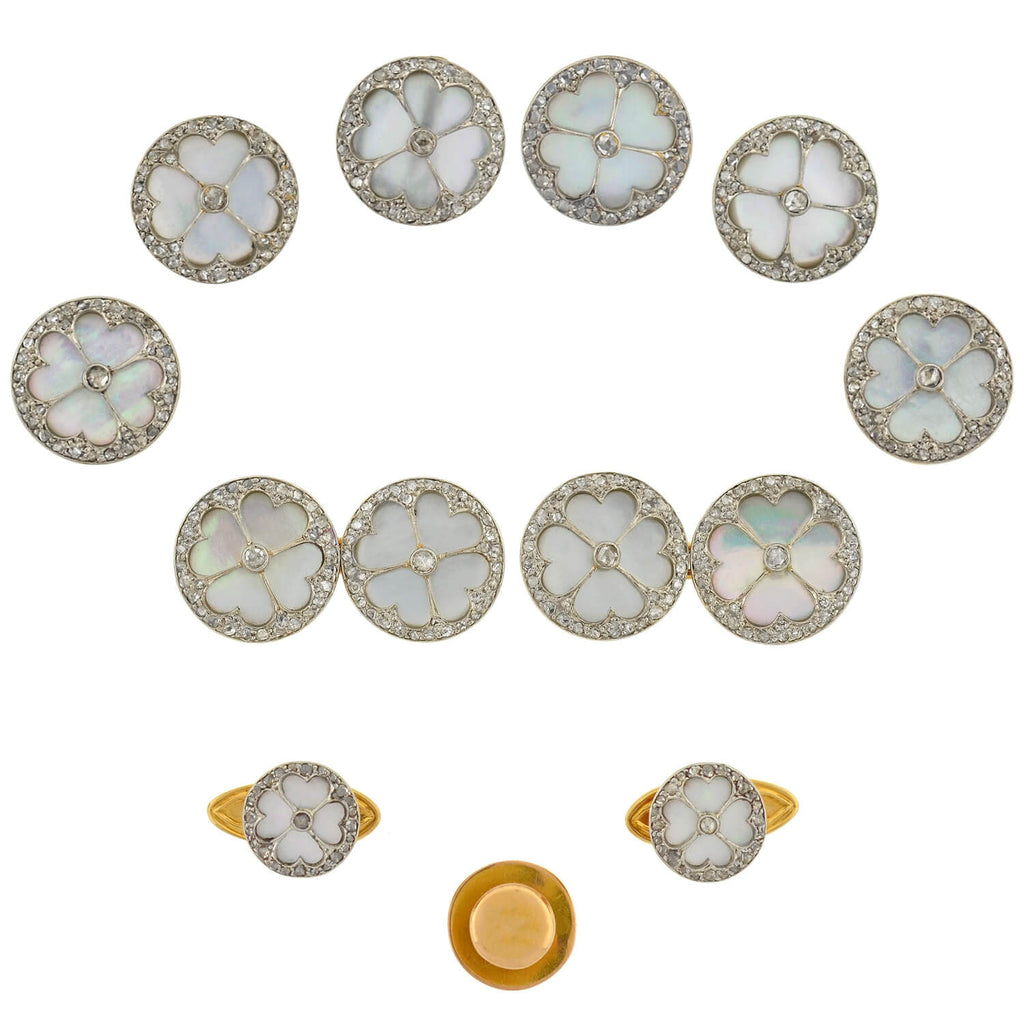 Edwardian French 18kt/Platinum Mother of Pearl + Diamond 11-piece Cufflink Set