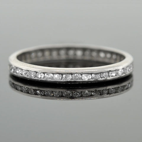 Art Deco Platinum Single Cut Diamond Eternity Band .60ctw