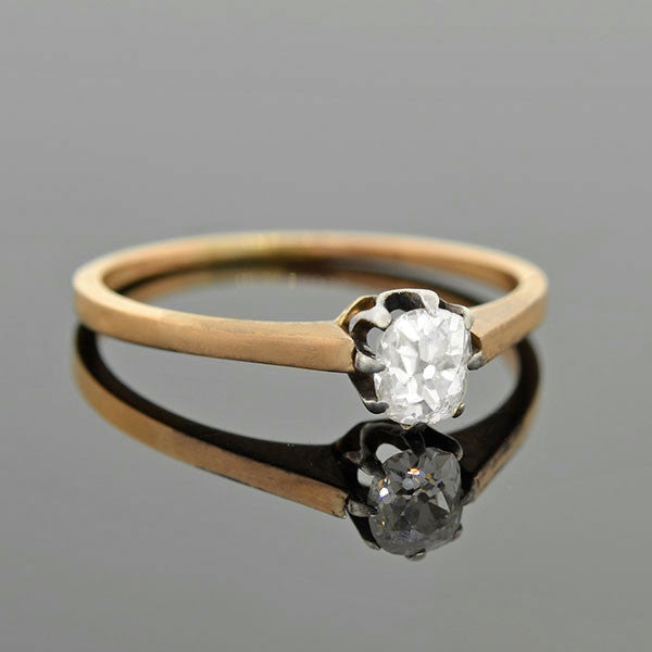 Edwardian French 18kt Platinum Diamond Engagement Ring 0.50ct
