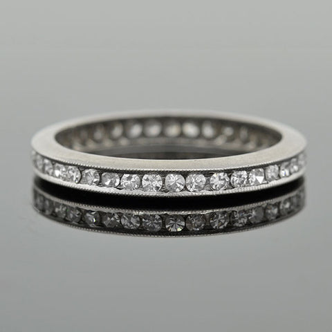Art Deco Platinum Diamond Channel Set Eternity Band