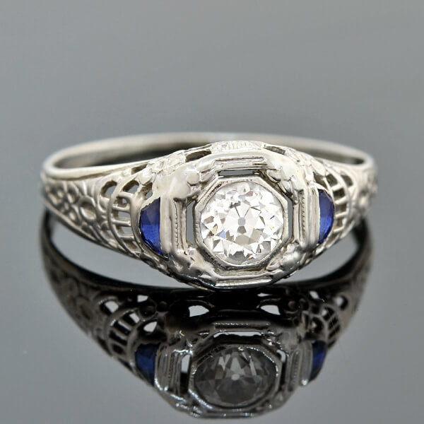 Art Deco 18kt Diamond & Half Moon Sapphire Engagement Ring 0.45ct