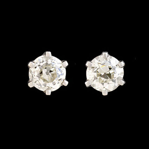 Retro Platinum Old European Cut Diamond Stud Earrings 2.42ctw