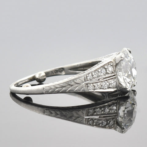 Art Deco Platinum Diamond Engagement Ring 1.83ct center