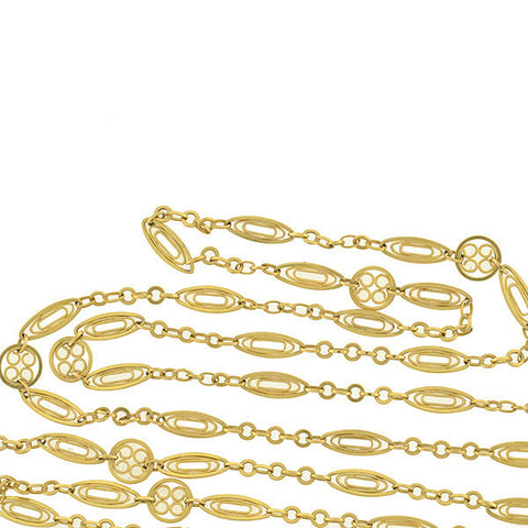 Art Nouveau French 18kt Fancy Filigree Link Chain 59""