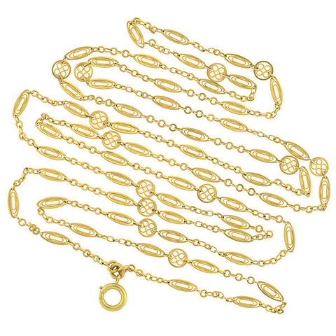Art Nouveau French 18kt Yellow Gold Filigree Link Chain 59""